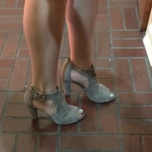 Gray open toe shoes